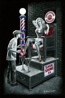 Shoe Shine- Black Board, Greg Hildebrandt