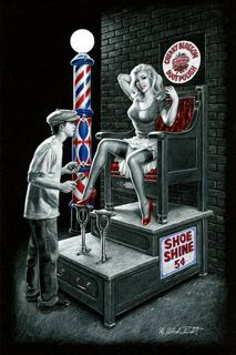 Shoe Shine- Black Board, Greg Hildebrandt