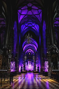 Beautiful purple stained glass flooding the floor with beautiful light from tall cathedral like ceiling. Gothic Buildings, Gothic Architecture, Beautiful Architecture, Beautiful Buildings, Beautiful Places, Die Renaissance, Purple Aesthetic, Fantasy Landscape, Landscape Photos