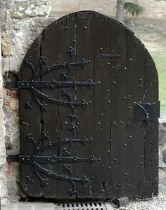 Door with metal works.