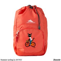 Summer cycling High Sierra Backpack by BATKEI #Zazzle #cat #猫 #cats #feline #backpack #bag #cycling