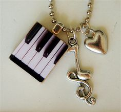 Piano Keys Charm Necklace by Belleseul on Etsy, $22.00