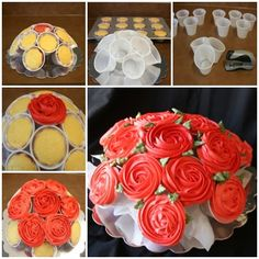 Flowers boquette gift birthday rose cupcake 65 Ideas for 2019 Cupcake Flower Bouquets, Flower Cupcakes, Pink Cupcakes, Yummy Cupcakes, Rose Cupcake, Valentine Cupcakes, Heart Cupcakes, Valentine Treats, Fondant Cupcake Toppers