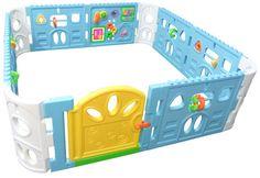 Block-Style Interactive Baby Playpen with Door - Giant Size Playroom