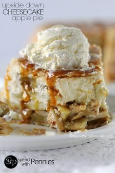 Upside Down Cheesecake Apple Pie!  This really is the most amazing dessert ever! Cheesecake and apples make the most amazing pie filling wrapped in a flaky crust!