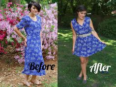 DIY Clothes Refashion: DIY Update a granny dress, find dresses to cut like this from the GoodWill