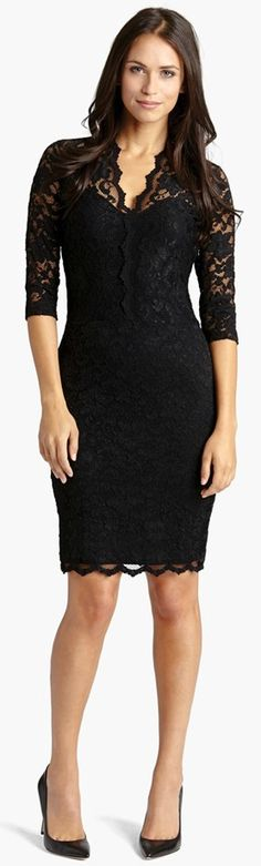 Ebony lace lavishes a curve-hugging sheath styled with a scalloped V-neckline and sheer three-quarter sleeves. Nordstrom Dresses, Black Lace Dresses, Little Black Dress Classy, Dress Skirt, V Neck Dress, Dress Me Up, Lace Overlay, Beautiful Dresses, Pretty Dresses