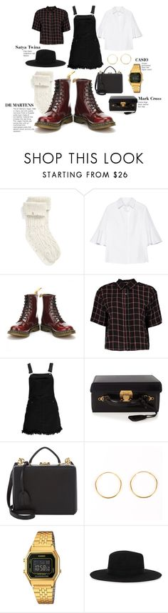 """""""Dungaree Pinafore Dress with DR MARTENS"""" by tower-london ❤ liked on Polyvore featuring UGG, Draper James, Dr. Martens, Boohoo, Mark Cross, Casio and Satya Twena"""