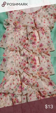 Girls blouse size 10-12, light pink with darker pink floral pattern. Candies brand with lots of flowing ruffles. Subtle shiny streaks from lurex Candies Shirts & Tops Camisoles