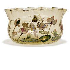 Galle Enameled Glass Bowl Circa 1900.