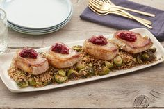 Seared Pork Chops with Farro, Brussels Sprouts & Cranberry Chutney
