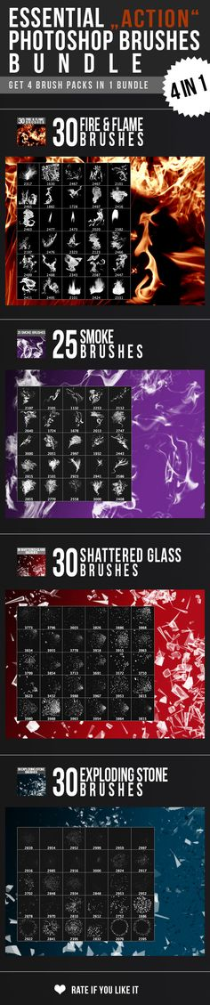 "Essential ""Action"" Photoshop Brushes Bundle  Get 4 Brush Packs in 1 Bundle!  FIRE - SMOKE - SHATTERED GLASS - EXPLODING STONES  http://graphicriver.net/item/essential-action-photoshop-brushes-bundle/11203722?ref=nada-images"