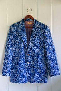 1960's Psychedelic Tiki Suit Coat Blazer M by OlDirtyBeachHouse