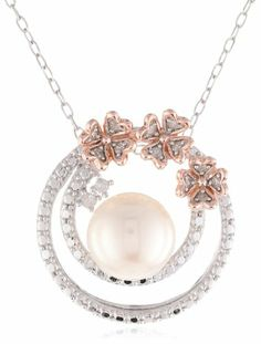 """Pink Gold Plated Sterling Silver 8.5-9 MM Freshwater Cultured Pearl and Diamond Pendant Necklace, (0.1 Cttw, G-H Color, I2-I3 Clarity), 18"""" ..."""