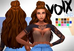 """DOWNLOAD VOIX HAIR (DROPBOX)"""" """" • maxis match • base game • hat compatible • tested in game • enabled for male and female • custom thumbnail • large breasts may deform hair tips • all lods Tou: please..."""