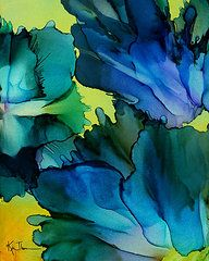 Alcohol Ink Art - In bloom by Kim Thompson