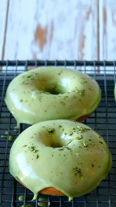 Matcha glazed donuts. The perfect donut for perking up your morning.