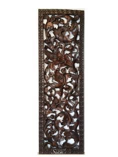 Wood Relief Panel Wall Sculpture Hand Carved by SiamSawadee