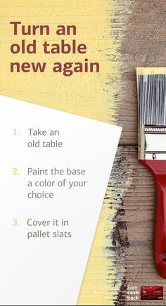 Give your home a new look in under 60 minutes by transforming an old table, with this DIY project from HGTV expert Genevieve Gorder.   Plus, learn how to earn cash back on materials with your Cash Rewards card.