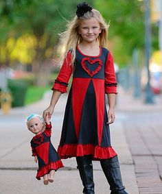 Love this Red & Charcoal Gray Mia Dress & Doll Dress - Girls by Lilli Lovebird on #zulily! #zulilyfinds