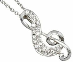 """Gorgeous Austrian Crystal Embellished Silver Musical/Music Note Treble Clef Necklace in Silver Necklaces by Glamour Girl Gifts. $17.99. Rhodium plated. Treble clef pendant measures 1"""" long x 1/2"""" wide. Lead and nickel safe ~ Comes gift boxed. Chain is approx 18"""" with lobster clasp"""