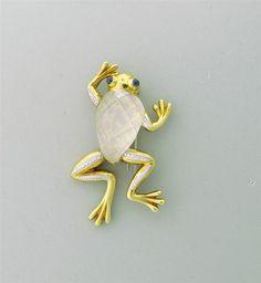 Estate 18k Yellow Gold Rock Crystal Sapphire 0.80ctw Diamond Frog Brooch Pin  starting bid $1200/ July 21 @ hamptonauction.com