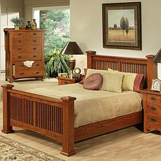 Our high-quality Heartland Oak Furniture Collection adds modern features to classic mission styling.  The bed incorporates slatted head- and footboards and the headboard has the ability to flush mount to your wall.  Each standard size below includes headboard with mounting screws, footboard, side rails, and reinforced mattress slats.