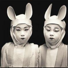 "AstroSpirit / Gemini ♊ / Air / The Twins: Marina Ema & Kazusa Ito, ""Matsuo Kabuki"". Photo by (c) Hiroshi Watanabe, Sapporo, Triplets, Twins, Siblings, Hiroshi Watanabe, Somebunny Loves You, Spiritus, Make Art, Vintage Photos"