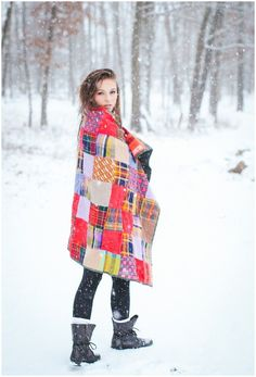 Flannel, Flannel Blanket, Snow Shoot, Snow Portraits, Snow Styled Shoot, Christmas, Christmastime, Christmas Portraits, Maryland Photographer, DC Photographer, Portrait, Portrait Ideas, Creative Portrait Ideas  Photos by Sarah Beth
