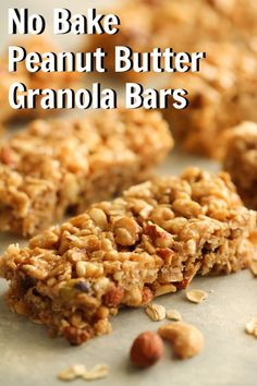 No Bake Peanut Butter Granola Bars | Six Sisters' Stuff This is one of the easiest granola bar recipes we have ever made. No cooking necessary. No Bake Peanut Butter Granola Bars are a great grab n go snack or breakfast when running out the door. The kids gobbled them up in no time. They are both soft and crunchy. A healthier option to store bought granola bars that are full of preservatives. #nobake #peanutbutterbars