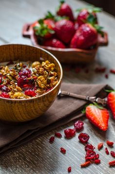 Granola with Red Berries by andreeachinesefood: Try goji berries and cranberries! #Granola #Red_Berries