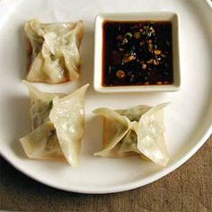 Chicken and Lemon Pot Stickers with Soy-Scallion Dipping Sauce | MyRecipes.com