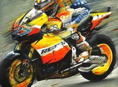 CASEY STONER ON HONDA RC212V, MOTOGP 2011 - Original Oil Painting on Canvas by Italy's Artist Andrea Del Pesco