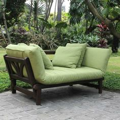 Patio Converting Sofa Outdoor Garden Wood Furniture Lounger Relax Cushions Yard #Unbranded