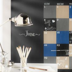 7 Ways Chalkboard Paint Can Change the Way You Live and Entertain with Martha Stewart Crafts Paint Calendar, Chalkboard Calendar, Chalkboard Paint, Chalkboard Lettering, Chalkboard Signs, Chalk Paint, Chalkboard Drawings, Martha Stewart Crafts, Organizing Your Home