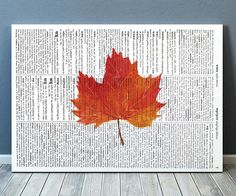 Nice modern Dictionary art. Beautiful Leaf print for your home and office. Cute Watercolor print. Lovely Fall leaf poster. SIZES: A4 (8.3 x 11) and