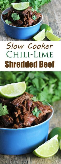 Easy Slow Cooker Chili-Lime Mexican Shredded Beef. A versatile meat for tacos, burritos, enchiladas, quesadillas and more. Or just enjoy it plain. The crockpot makes it totally easy.