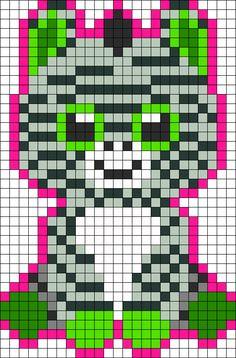 Zig Zag Zebra Beanie Boo Perler Bead Pattern / Bead Sprite