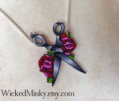 traditional tattoo blood red rose and scissors by wickedminky, $18.00