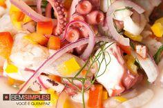 Ceviche de frutos do mar. Por Carla Pernambuco. www.bemsimples.com/br/receitas/66979-ceviche-de-frutos-do-mar