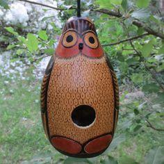 Owl Design Hand-Carved Gourd Birdhouse