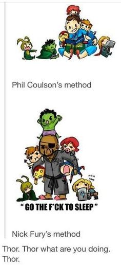 Nick Fury and Phil Coulson <--- Loki and Thor are hilarious on this. Marvel Avengers, Marvel Jokes, Avengers Memes, Marvel Funny, Marvel Dc Comics, Baby Avengers, Avengers Fanfic, Baby Loki, Baby Marvel