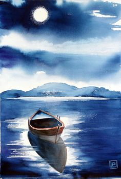 Acrylic Painting Techniques, Watercolor Techniques, Watercolor Landscape, Watercolor Paintings, Heaven Art, Water Drawing, Seascape Art, Boat Painting, Anime Comics