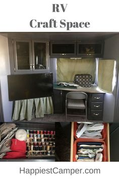 Very cool renovated RV with Craft Space. Take your craft supplies and sewing machine on the road in your RV. Craft in your RV for a truly great camping experience.