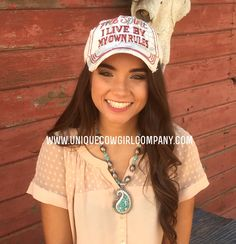 Silver and Turquoise Paisley Necklace and Free Spirit Ball Cap @ www.UniqueCowgirlCompany.com