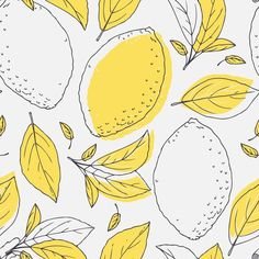 Outline seamless pattern with hand drawn lemon and leaves. Doodle fruit for package or kitchen design Vinyl Wall Mural - Graphic Resources Abstract Illustration, Fruit Illustration, Pattern Illustration, Lemon Drawing, Leaves Doodle, Fruit Doodle, Fruits Drawing, Wall Drawing, Fruit Pattern