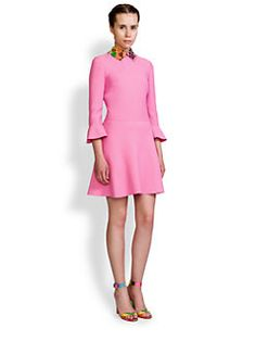 Valentino - Leather-Collar Flutter-Sleeve Dress
