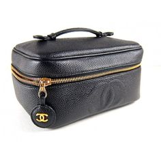 Chanel Black Caviar Leather Cosmetic Beauty Case Vanity Tote Bag