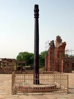 """Iron pillar of Delhi   Atlas Obscura""""a testament to the skill of ancient Indian blacksmiths"""" because of its high resistance to corrosion.[1] The corrosion resistance results from an even layer of crystalline iron hydrogen phosphate forming on the high phosphorus content iron, which serves to protect it from the effects of the local Delhi climate.["""