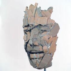 Sculpture Head, Cardboard Sculpture, Paper Mache Sculpture, Cardboard Art, Alberto Giacometti, Collage Art Mixed Media, Masks Art, Hand Art, Process Art